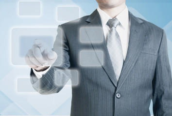Man pointing on the blank virtual screen