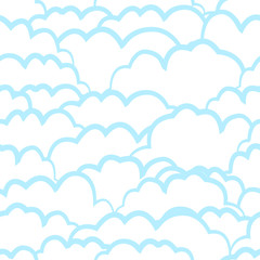 Heavenly seamless pattern with clouds