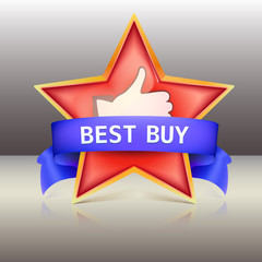 Best buy label with red star and ribbons,  illustration
