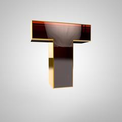 3d golden letter - t