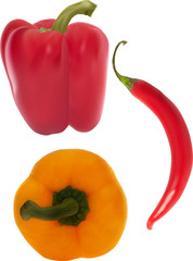 paprika and chilli isolated on white