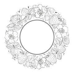 Strawberries in a circle isolated