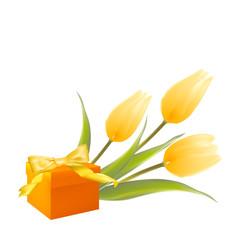 Yelllow tulips and gift box