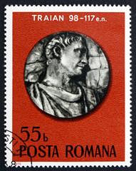 Postage stamp Romania 1975 Roman Emperor Trajan