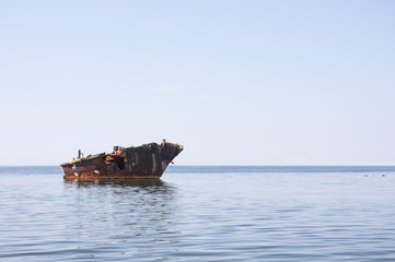 Old ship wreck in the sea