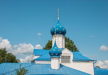 Blue dome church Vvedenskoj Fedorovsk monastery in Pereslavl