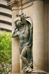 Statue adorns the building in Barcelona