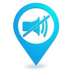 muet volume sur symbole localisation bleu