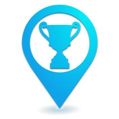 trophée sur symbole localisation bleu