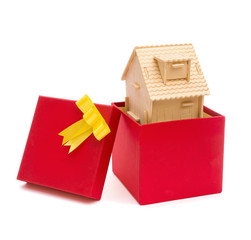 house in a present box with clipping path
