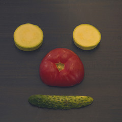 Healthy vegetables in a bear face shape