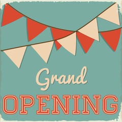 Retro Grand Opening Sign with Bunting on Teal Background
