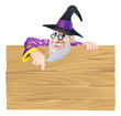 Cartoon Wizard Wooden Sign