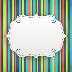 blank birthday poster on seamless stripes pattern background