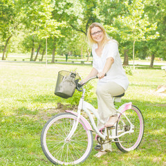 Happy Woman on the Bike