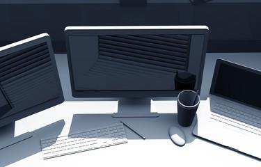 Triple Screens Designer Desk