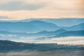 Blue mountains covered with mist