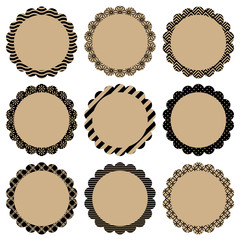 Flower Label Retro Pattern Beige/Black