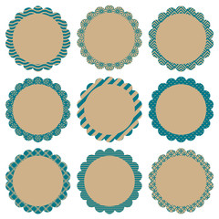 Flower Label Retro Pattern Beige/Turquoise