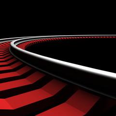 Single curved railroad track