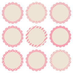 Flower Label Retro Pattern Beige/Rose