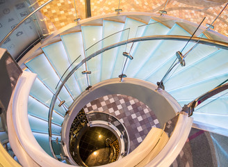 Chrome and Glass Spiral Staircase