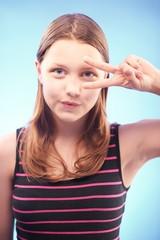Teen girl gesturing