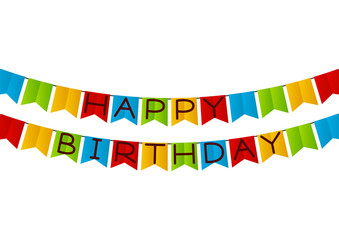 Color party flags with Birthday message