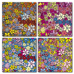 Motif fleuri multicolore