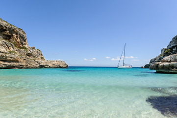 Sailing yacht on anchor in beautiful Mediterranean bay