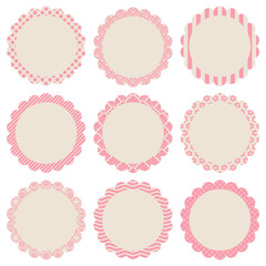 Retro Pattern Flower Label Beige/Rose