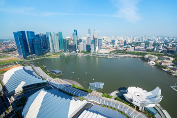 Aerial view of Singapore skyline