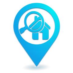 recherche maison sur symbole localisation bleu