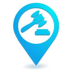 vente aux enchères sur symbole localisation bleu