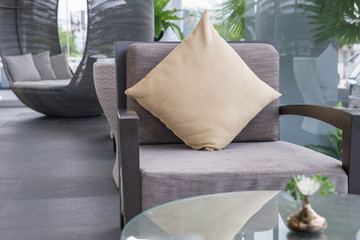 chair and pillow in living room
