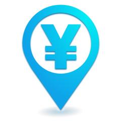 yen sur symbole localisation bleu