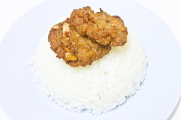 fried pork with garlic pepper and rice