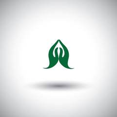 indian womans hand greeting posture of namaste - vector icon