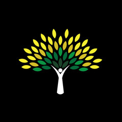 people tree icon with green leaves - eco concept vector