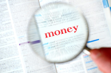 Magnifying money word