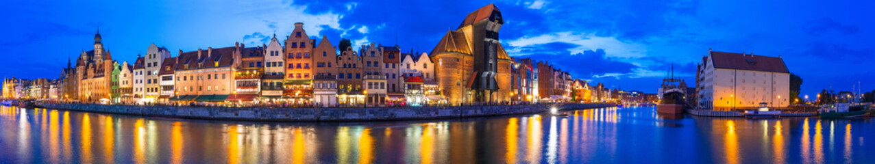 Panorama of Gdansk at Motlawa river, Poland