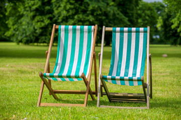 Deckchairs. London, England