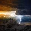 Lightning in mountain
