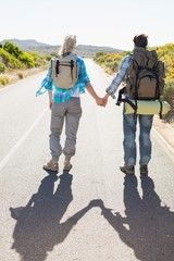 Attractive couple standing on the road holding hands