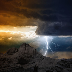 Lightning in mountain