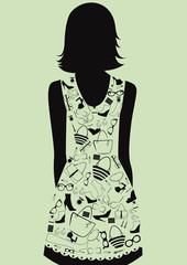 Woman in dress from accessories. Vector