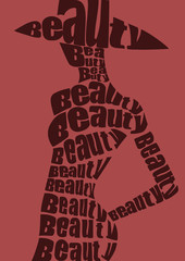 Woman in hat from words. Vector