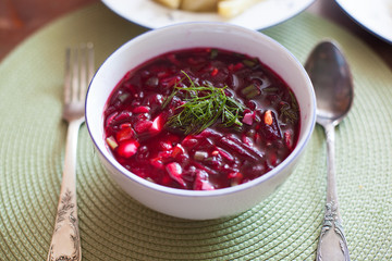 Traditional cold beet soup with vegetables