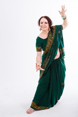 european girl in green indian saree