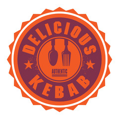 Abstract stamp or label with the text Delicious Kebab
